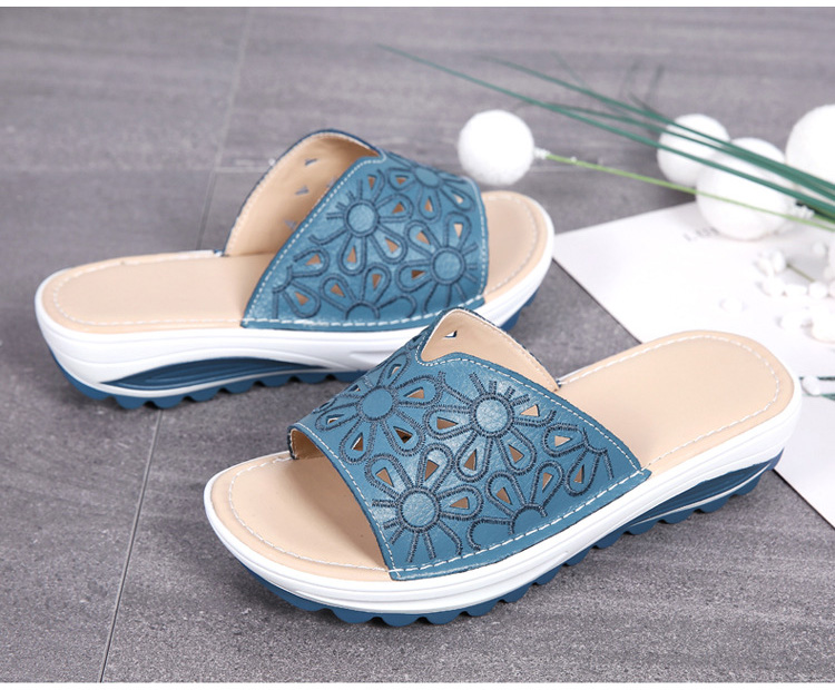 AH 1975-2020 Genuine Leather Womens Flat Slides Casual Hollows Summer Beach Flip Flops-2