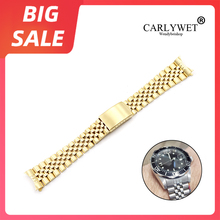 CARLYWET 19 20 22mm Gold 316L Stainless Steel Silver Hollow Curved End Solid Screw Links Replacement Watch Band For Seiko Rolex 19 20 22mm gold two tone hollow curved end solid screw links 316l steel replacement watch band strap old style jubilee bracelet