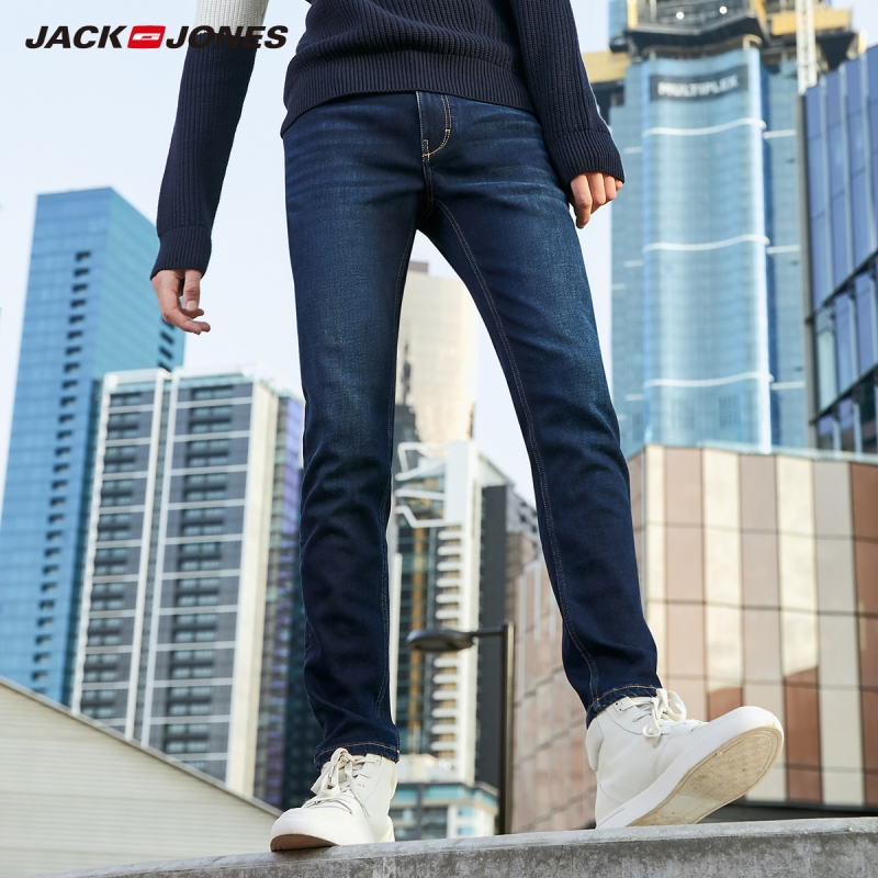 JackJones men's winter cotton Stretch   jeans   warm Denim Pants Menswear 219332548