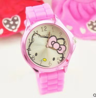 Hello Kitty Cat Fashion Casual Girl Watch Kids Cute Silicone Strap Atches Lovely  Children Quartz Wristwatch Clock