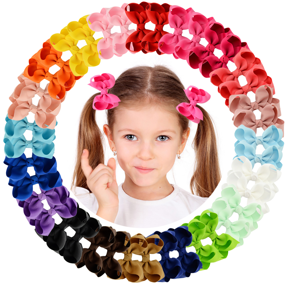 """1Piece 40 Colors Boutique Grosgrain Ribbon Pinwheel 3"""" Hair Bows Alligator Clips For Babies Toddlers Teens Gifts In Pairs 563"""