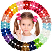 "1Piece 40 Colors Boutique Grosgrain Ribbon Pinwheel 3"" Hair Bows Alligator Clips For Babies Toddlers Teens Gifts In Pairs 563(China)"