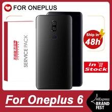 מקורי בחזרה החלפת דיור עבור Oneplus 6 כיסוי אחורי סוללה זכוכית עבור אחד בתוספת 6 דלת אחורי החלפת מקרה עם לוגו