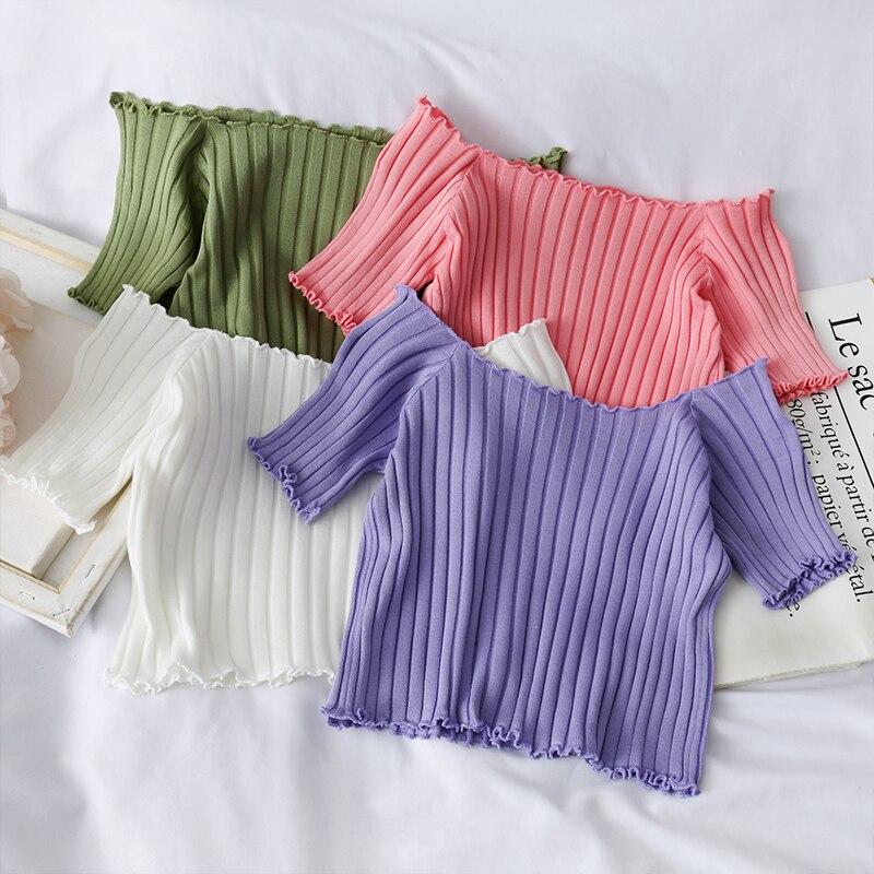 HELIAR 2020 Spring Women T-shirt Slash Collar Knitting T-shirt Cotton Ladies Fashion Solid Short Sleeve Skinny T-shirt Women