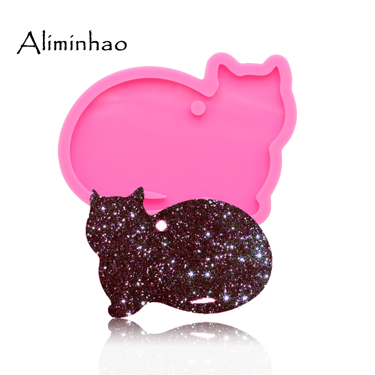 DY0089 Shiny Cat Keychains Mold Pendant Polymer Clay DIY Jewelry Making Glitter Epoxy Silicone Resin Mold