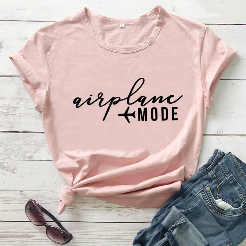 Modalità aereo 2020 Nuovo Arrivo Divertente T Shirt vacanza Viaggi Camicia Camicette ragazze viaggio Camicette Camicette per luna di miele viaggio Camicette