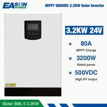 EASUN POWER 500Vdc محول طاقة شمسية 3200 واط 24 فولت 220 فولت 80A MPPT 4000 واط PV محول موجة جيبية نقية 3Kva 50 هرتز خارج الشبكة العاكس شاحن