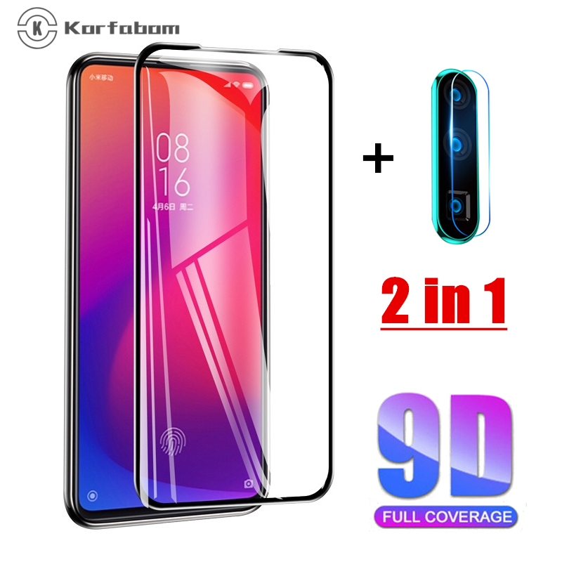 2 In 1 Tempered Glass For Xiaomi Cc9 A3 Redmi 8 8A 7A Full Cover For Redmi Note 7 8 Pro 8T Screen Protector Note8 Toughened Film