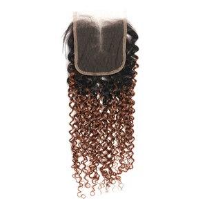 Image 5 - Perwersyjne kręcone zamknięcie 4x4 Ombre ludzkie włosy szwajcarska koronka bez zapięć/środkowa częściowo koronka zamknięcie nierealne brazylijskie ludzkie włosy KEMY