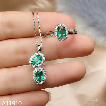 KJJEAXCMY Fine Jewelry 925 Sterling Silver Inlay Natural Emerald Jewelry Women's Ring Necklace Pendant Set Support Test