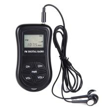 Mini Digital ABSตัวรับสัญญาณวิทยุจอแสดงผลLCD FMสเตอริโอแบบพกพาแบตเตอรี่หูฟังสีดำกระเป๋า