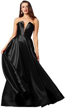 Women's V Neck Satin Formal Prom Dress Long Ball Gown A-Line Strapless Party Skirt Sleeveless with Pockets