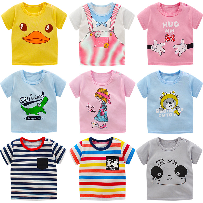 Children T Shirts Clothes Print Kids Baby Tops Short Sleeve  Basic T-Shirt Summer Toddler Boys Girl Shirts Tops Clothing A0136