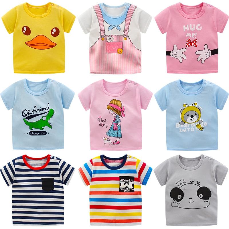 Children T Shirts Clothes Print Kids Baby Tops Short Sleeve  Basic T-Shirt Summer Toddler Boys Girl Shirts Tops Clothing A0136
