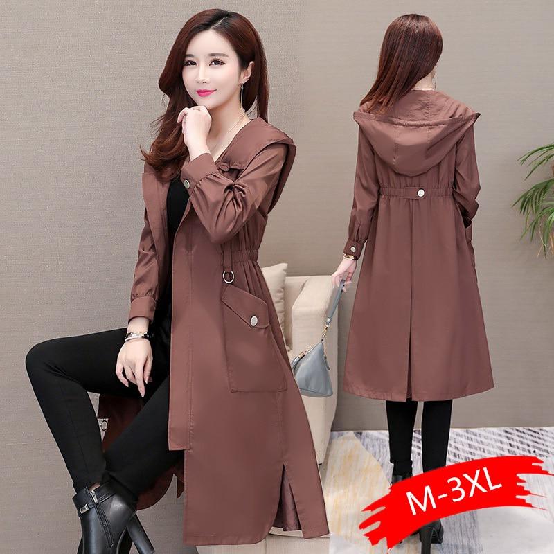 2020 Spring Autumn Classic Long Trench Coat Women Casual Thin Windbreaker Female Overcoat Long Coat Female Slim Outwear Coats