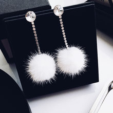 1 par doce branco pompom brincos gota strass liga bola de pele longo dangler brincos para mulheres moda elegante jóias