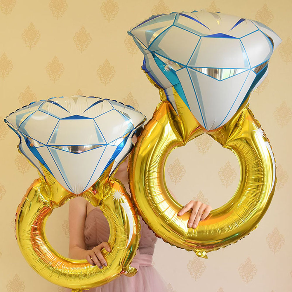 Big Diamond Ring Ring Aluminum Foil Balloons Toys Helium Balloon Wedding Birthday Balloons Party Inflatable Balls Decoration Toy