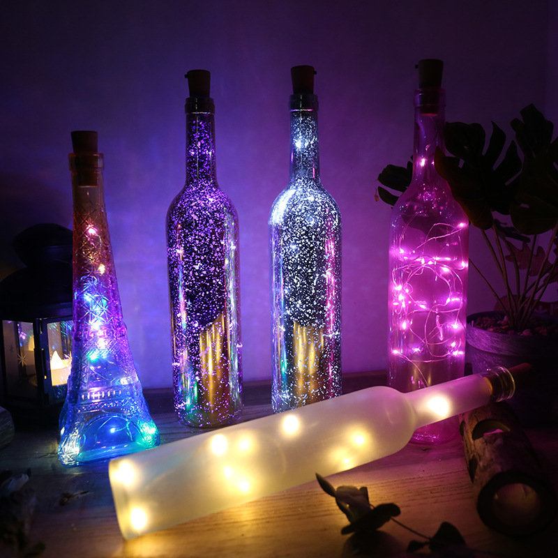 2M 20 LEDs Wine Bottle Cork Lights LED Silver Copper Wire Colorful Fairy Garland String Lights Xmas Wedding Party Art Decor Lamp