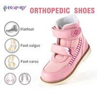 princepard  Autumn orthopedic sneakers pink gray kids orthopedic shoes genuine leather size 19-37 European size