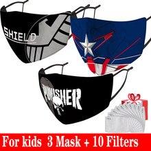 Regalo gratis PM2.5 filtro de papel máscara de boca de dibujos animados niños máscara de ciclismo transpirable máscara de cara p