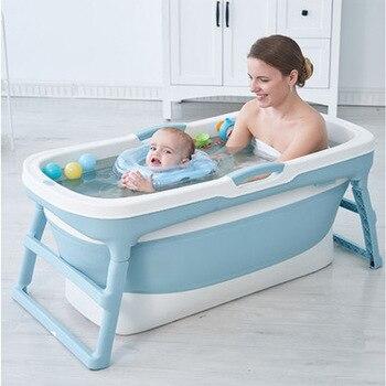1.1m-1.25m Folding Bath Tub Folding Bath Barrel Adult Bath Barrel Child Bath Tub Baby Tub Baby Bath Plus Size Children's Tub