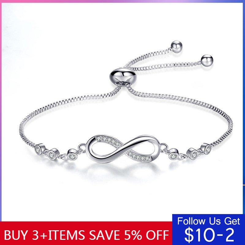 Authentic 925 Sterling Silver Infinity Adjustable Pandora Bracelet For Women Hot Fashion 8 Word Bracelet For Gift(China)