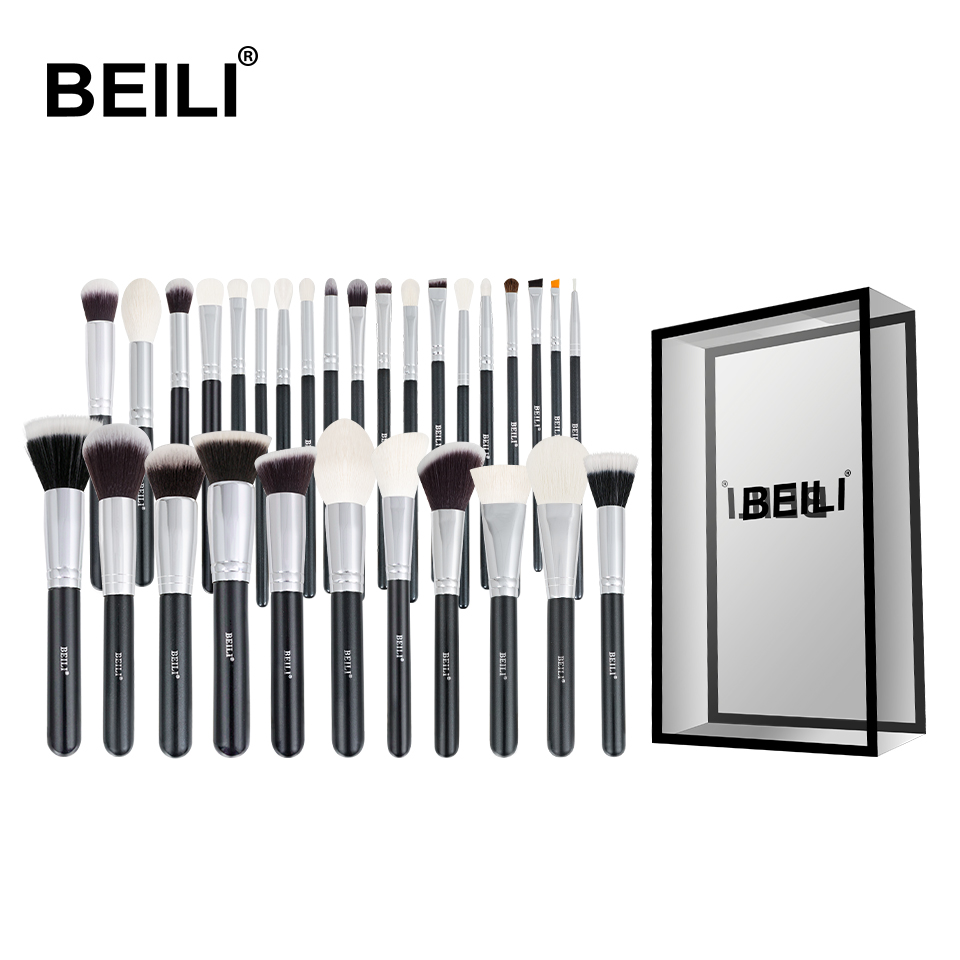 BEILI Black Complete Professional Natural goat hair Makeup Brushes set Foundation Powder Concealer Contour  Eyes Blending brush-in Eye Shadow Applicator from Beauty & Health