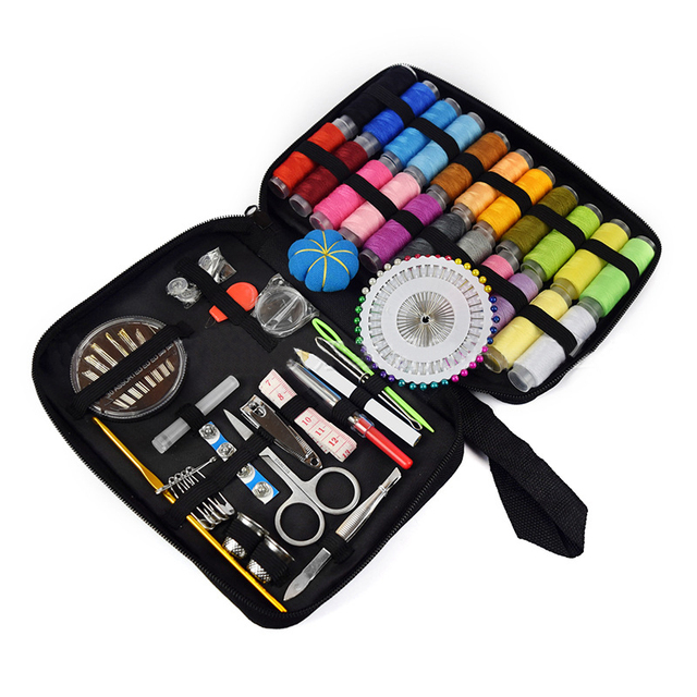 Sewing Kit Filled With Scissors Thread Spool Thimble Eyebrow Clip Measuring Tape Threaders 126 Accessories Travel Home Needle Th 1