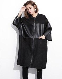 Image 2 - EAM veste grande taille épissée, nouveau col montant à manches longues, manteau femme, mode automne cuir synthétique polyuréthane noir, JC2530