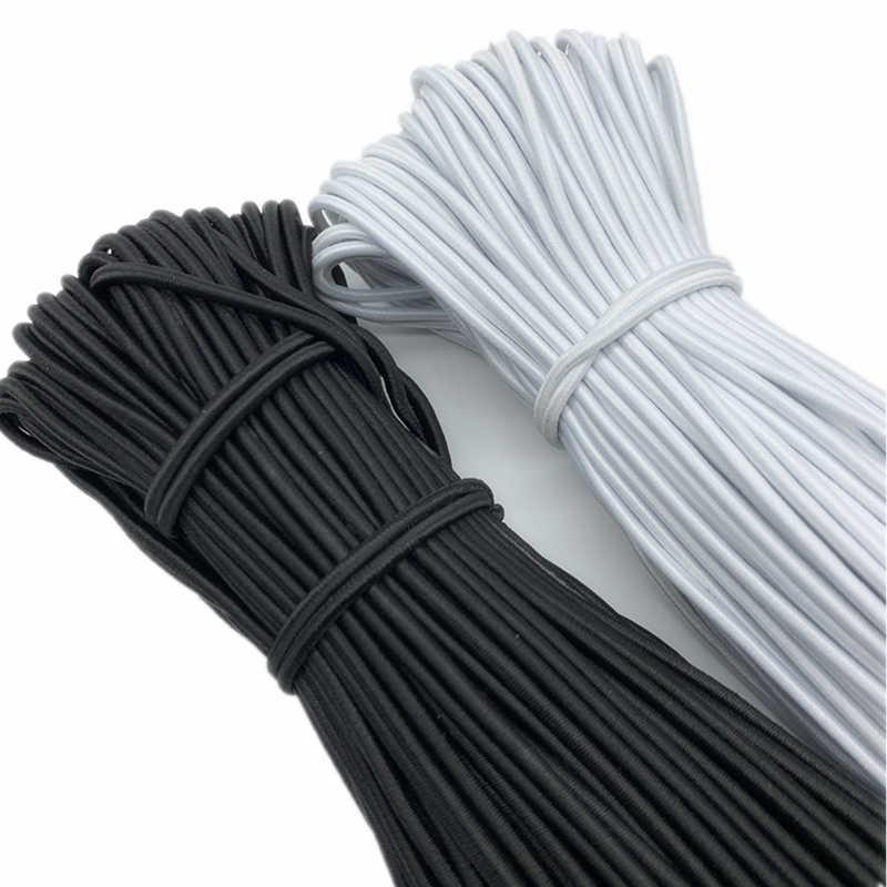 5 yardas/lote 1/1, 5, 2/2, 5, 3 y 4mm banda elástica redonda de costura Fiat, banda de goma de la cintura, banda elástica, cinta elástica