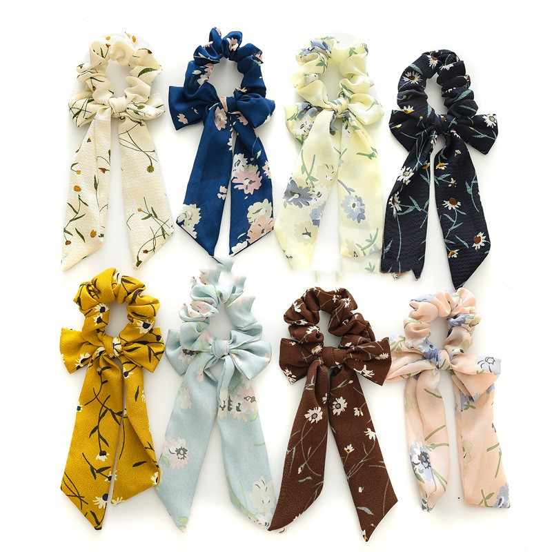 2019 New Ponytail Holder Fashion Hair Ring Floral Hair Scrunchies Bow Streamers Hair Bows Girl Rope Hair Bands Accessories