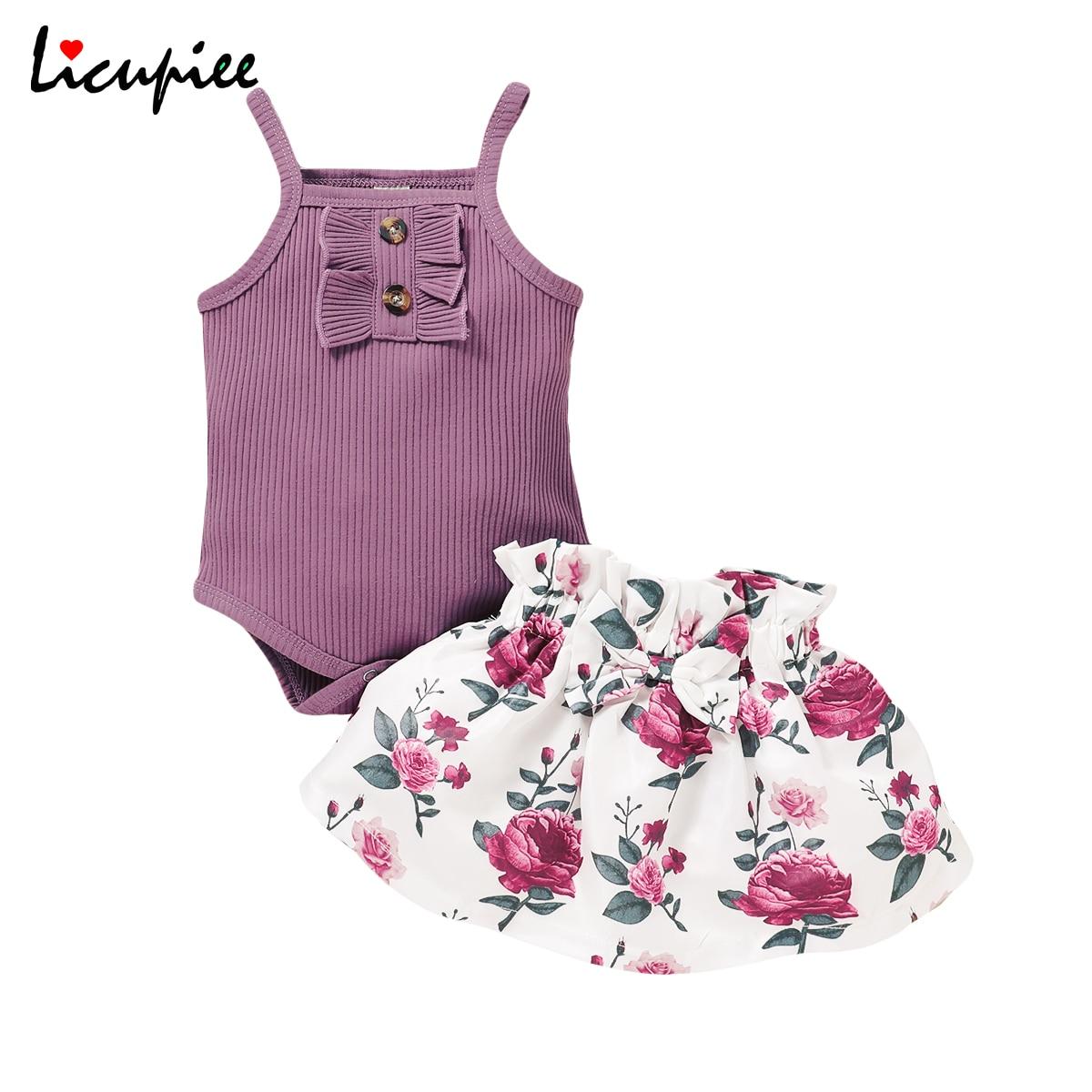 Bebek baskı 2 adet set yeni yaz kız elbise setleri Ruffles kolsuz katı Romper ayçiçeği etekler 2 adet 0-18 ay
