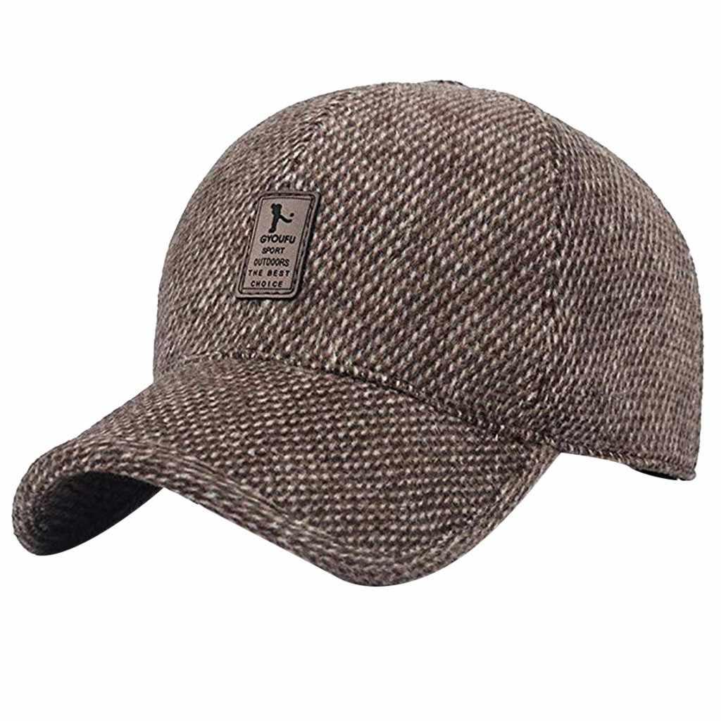 2019 Men Warm Winter Baseball Cap Hat Men Black Solid Bone Baseball Mens Winter Hats Ear Flaps Outdoor Running Cotton Cap