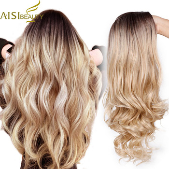 AISI BEAUTY Ombre Long Blonde Brown Wavy Wigs For Women Synthetic Black Gray Red Female Daily Party Heat Resistant False Hair 1