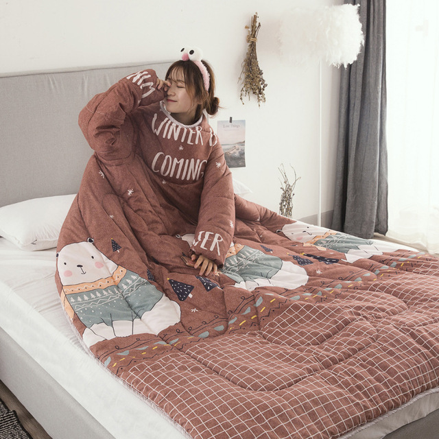 Winter Comforters Lazy Quilt with Sleeves Family Throw Blanket Hoodie Cape Cloak Nap Blanket Dormitory Mantle Covered Blanket 3