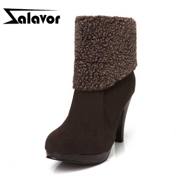ZALAVOR Size 34-44 Women High Heel Boots Round Toe Warm Fur Slip On Ankle Boots Winter Fashion Daily Short Women Footwear