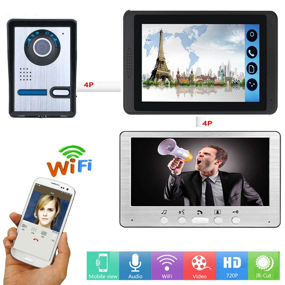 Video Door Intercom 7 Inch Monitor Wifi Wireless Video Door Phone Doorbell Visual Speakerphone APP Remote Unlock Intercom KIT