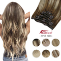 [Hot Sale] Moresoo Clip in Human Hair Natural Hair Extensions Full Head Machine Remy Straight Set 7 Pcs Double Weft Brazilian