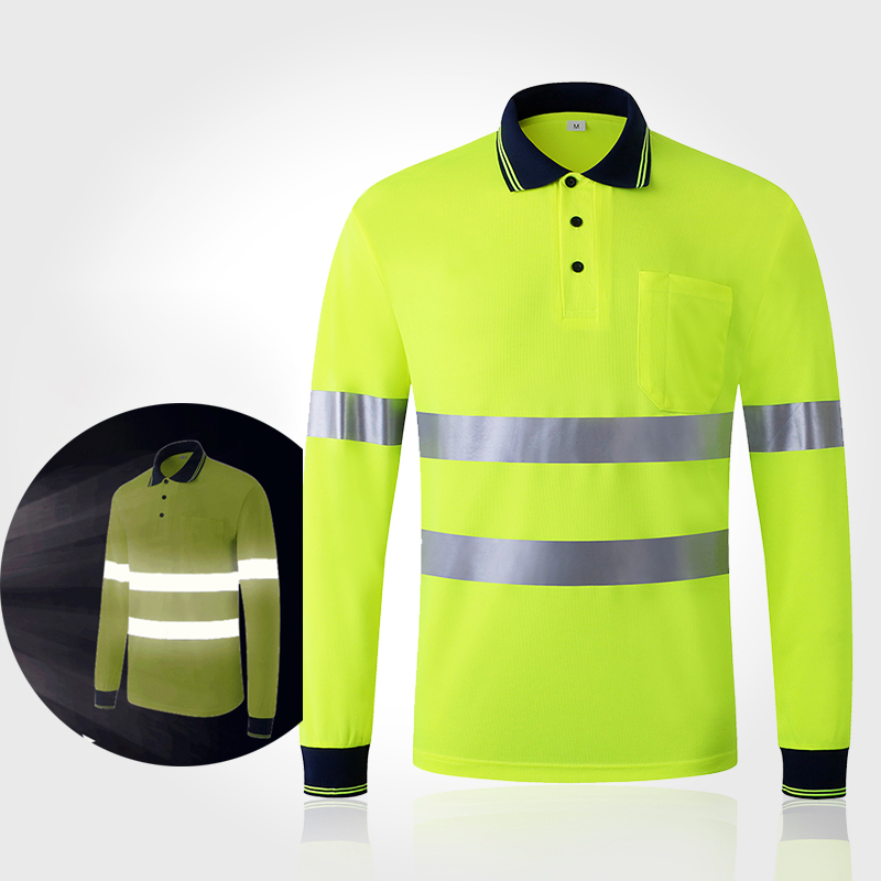 Quick Dry Night Safety Work Shirt Long Sleeve Reflective T Shirt For Night Work Safety Clothing Breathable Work Clothes Workwear