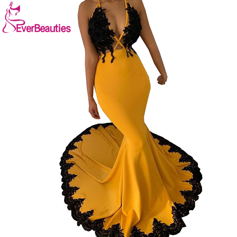 Robe De Soiree Mermaid Yellow Evening Dresses Long 2020 V-Neck Evening Gown Satin Appliques Abiye Vestido De Festa