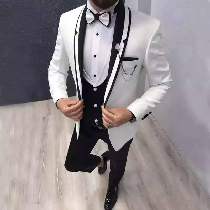 Black Vest White Suits For Wedding Evening Tuxedos Groom Wear Black Shawl Lapel Outfit Man Blazers 3pcsTrajes De Hombre Costume