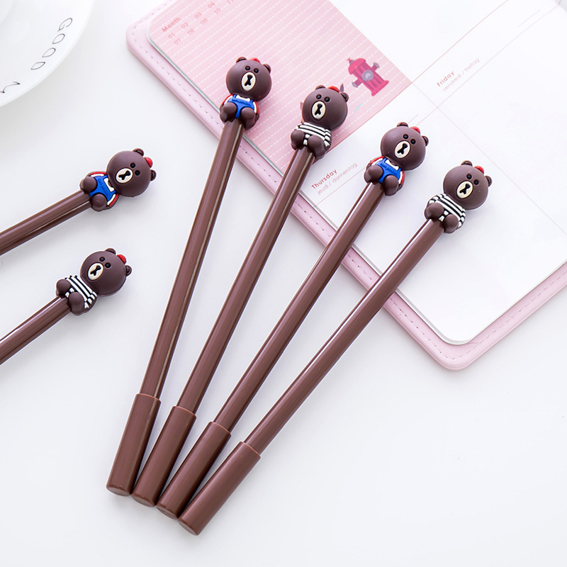 Korea stationery creative cute bear gel cartoon brown black ink pen