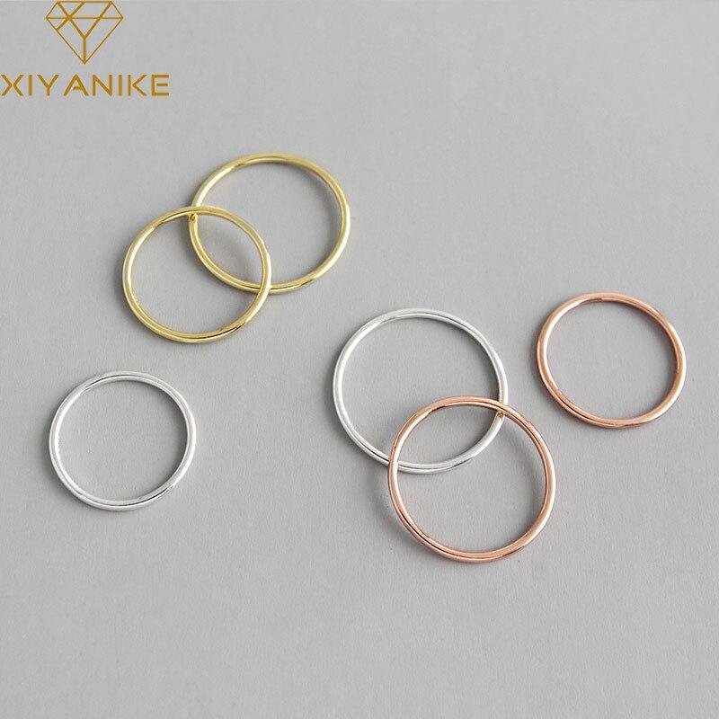 XIYANIKE 925 Sterling Silver New Fashion Glossy Line Rings For Women Minimalist Geometric Handmade Jewelry Valentine's Day Gifts