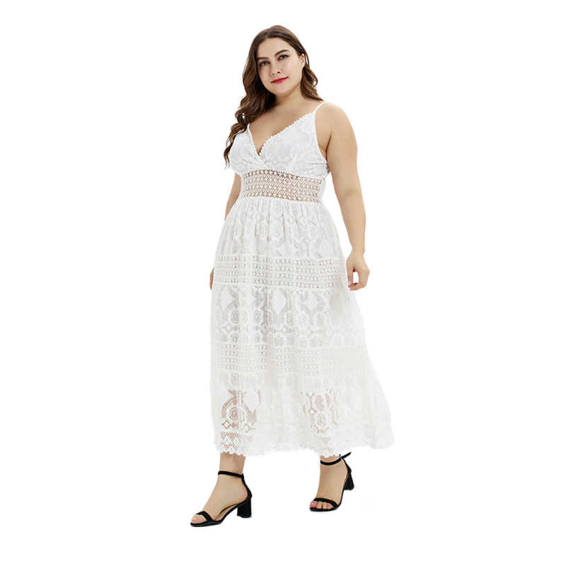 WHZHM Backless Party Sexy Dress Large Size Plus Size 3XL Sleeveless Spaghetti Strap Casual White Flower Dress Women FX180142