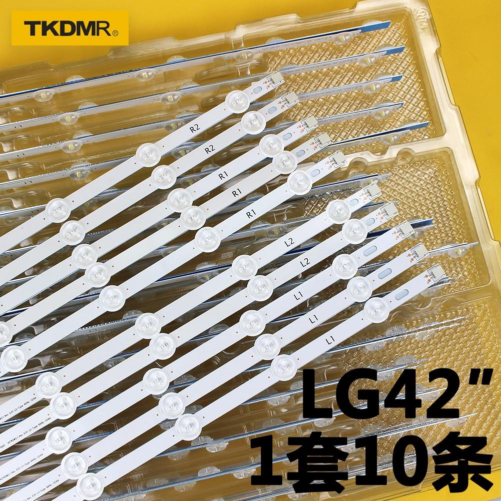 TKDMR 10 Pcs LED Backlight Strip For LG 42inch TV 6916L-1216A 6916L-1214A 6916L-1215A 6916L-1217A LC420DUE LC420DUN 42LP360C