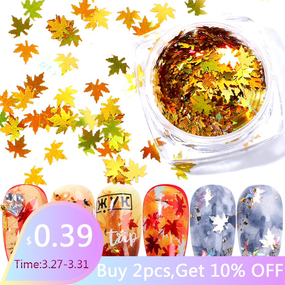 1 Box Maple Leaves Nail Art Sequins Holographic Glitter Flakes Paillette Chameleon Stickers For Nails Autumn Design Decor SA1528