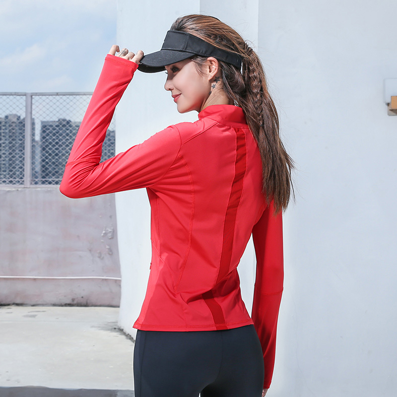 Image 2 - Womens Long Sleeve Sports Running Jacket Net Yarn Splicing Yoga Gym Fitness Tight Tops Quick Dry Breathable Sports Coat-in Running Jackets from Sports & Entertainment on AliExpress