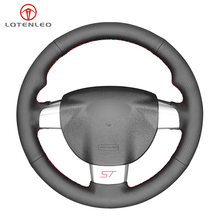 LQTENLEO Black Genuine Leather DIY Car Steering Wheel Cover For Ford Focus ST 2005 2010 Focus RS 2005 2011 Focus 3 2005 2010