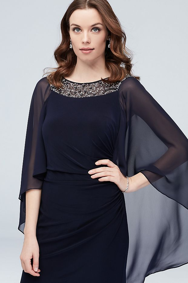 Mother of the Bride Dress mother of  bride dresses plus size Embellished Neck Drape Sleeve Gown with Ruching