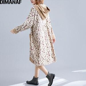 Image 4 - DIMANAF プラスサイズ女性のドレス 2019 冬ヴィンテージコーデュロイ厚いビッグサイズルース女性 Vestidos 長袖プリント花フード付き